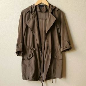 Hooded mid length dark olive utility jacket S